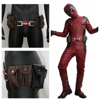 Coslive Movie Cosplay Deadpool Costume Prop Belt New Movie Version Leather Belt with 4 pockets Deadpool Costumes Accessories