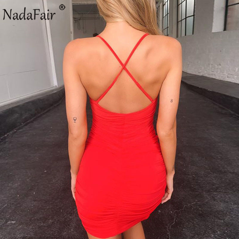 Nadafair Deep V Neck Club Sexy Bodycon Dress Women Ruched Backless Cross Red Black Party Bandage Mini Summer Dress Vestidos