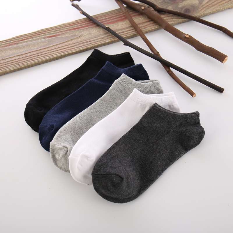 1 Pair New Summer Men Socks Short Ankle Socks Cotton Black White Bussiness Pure Color Casual Sock Size 39-43