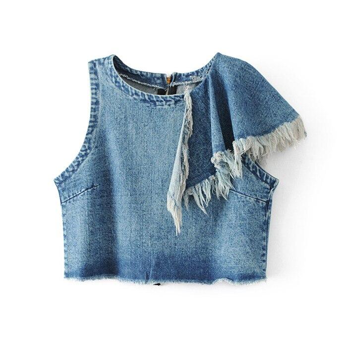 Buy Women Denim Shirt Tassel Jeans Crop