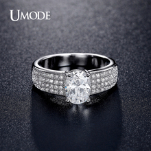 UMODE Brand New Engagement Wedding Ring For Women Simulated Diamond Rhodium plated Wedding Bands Anelli Bijoux Femme AUR0369B
