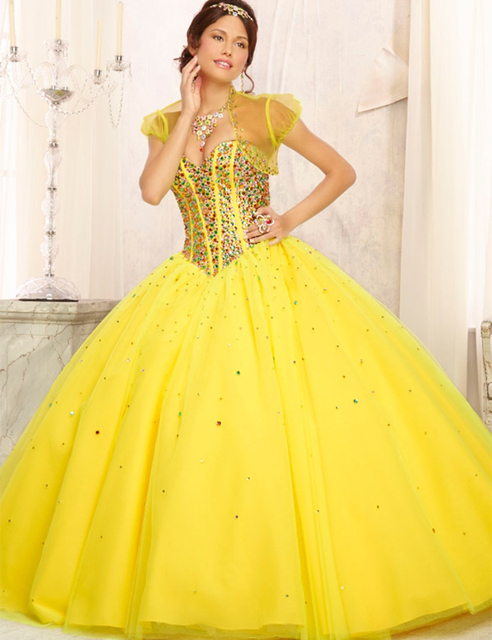 de5ab4d11eb Sweetheart Beading Yellow Ball Gown Tulle Quinceanera Dress Lace Up Back  Yellow Sweetheart Sparkly Beading Quinceanera Dresses