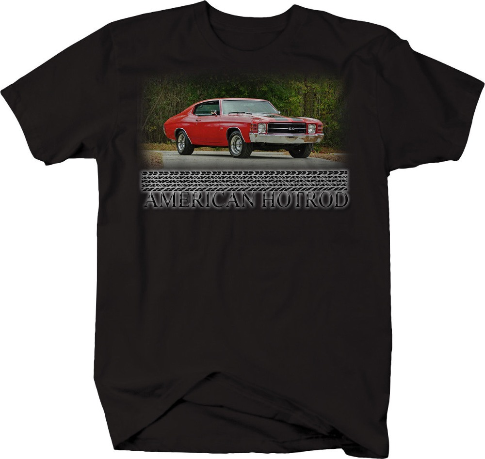 2019 Fashion Hot American Hotrod Chevy Chevelle SS Red <font><b>V8</b></font> 70's Muscle <font><b>Tshirt</b></font> Tee shirt image