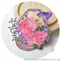 Exquisite Flower Basket Patches Beautiful Plant Flowers Patches For Clothing Decorative Clothing Accessories Military Patch