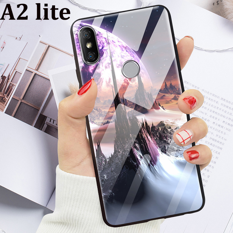 For <font><b>Xiaomi</b></font> <font><b>mi</b></font> A2 lite Case cover Tempered glass Back Cover <font><b>mi</b></font> <font><b>A2lite</b></font> case miA2 lite coque skin Starry Stained Glass Phone Case image