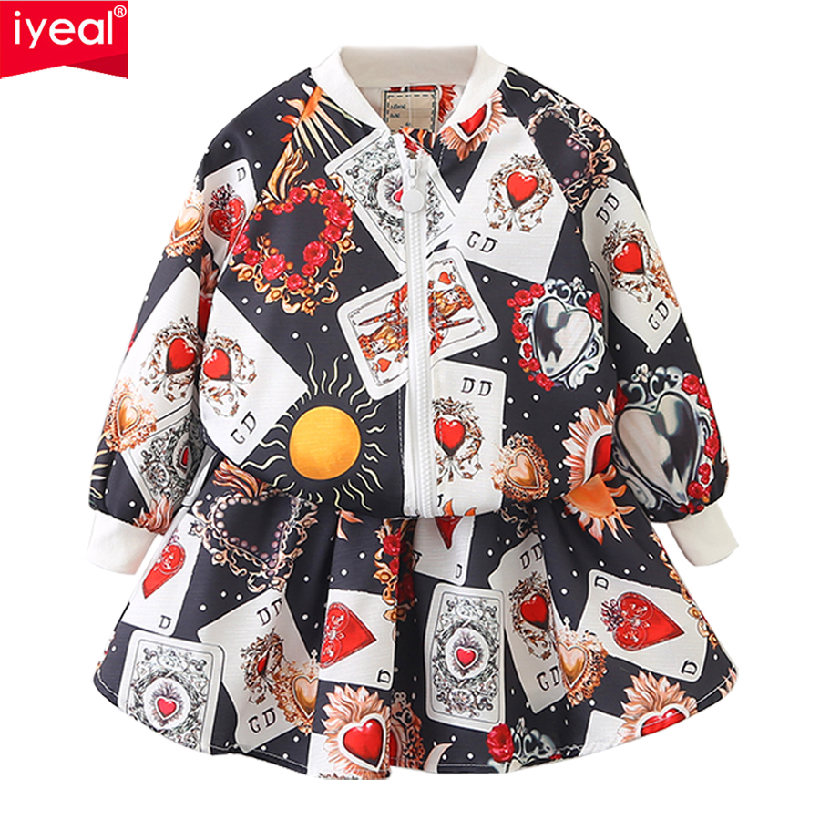 IYEAL New Fashion Girls Clothing Sets Spring Kids Clothes Long Sleeve Print Jacket Tops + Skirts Suit Children Outfits for 3-8Y