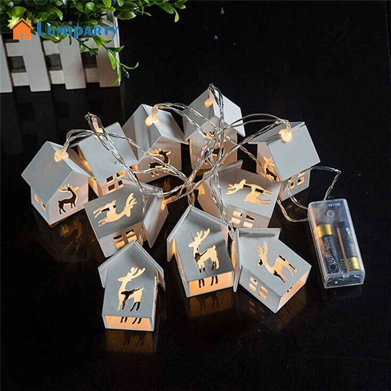 Lumiparty Battery Operation Wooden Christmas Tree String Lights With 10 LED House Shape Christmas Lights For