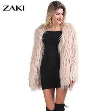 2016 new Elegant ladies fake fur coat tops ladies Fluffy heat feminine style overcoat stylish autumn winter jacket bushy outerwear