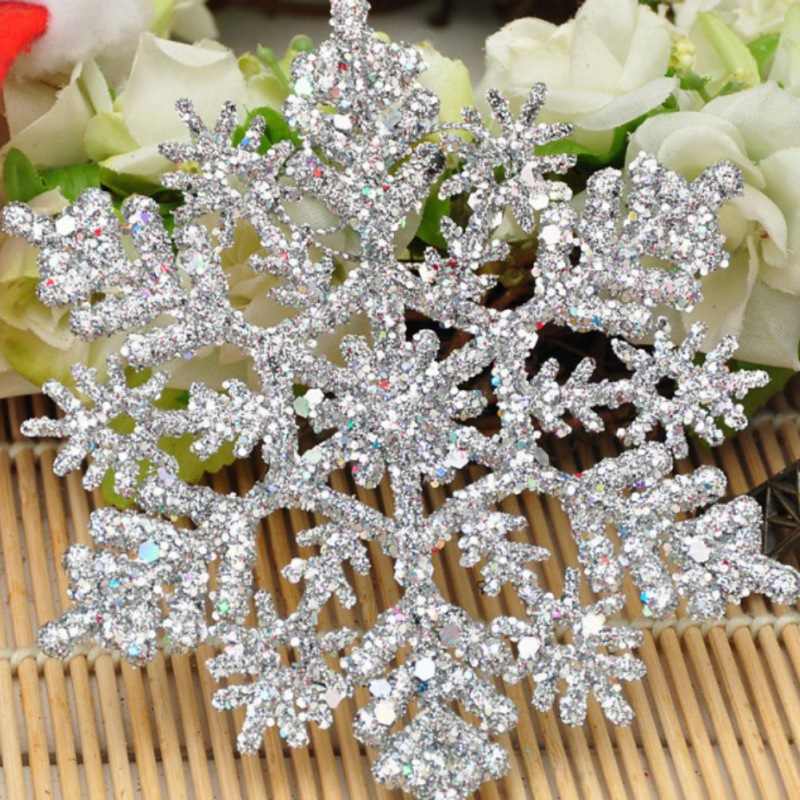 Sparkly Glitter Snowflake Christmas Ornaments Xmas Tree Hanger Garland Making Christmas Decorations 12Pcs/Set