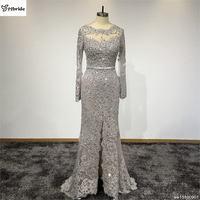 2017 Yeni Tasarım Balo Elbise Real Resimleri Akşam elbise Uzun Kollu Parti akşam elbise için Özelleştirilmiş Dantel Boncuk Elbiseler