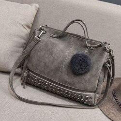 Винтаж из искусственной кожи Сумки заклепки больше Для женщин сумка волосы мяч сумка мотоциклов Crossbody сумка для Для женщин