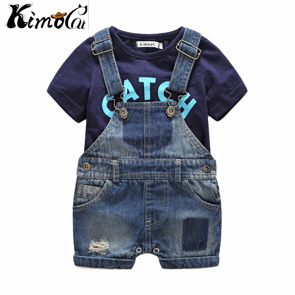 Kimocat Baby boy clothes baby born Summer short-sleeved letters t-shirts boy sets Denim suspenders baby clothes