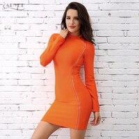 Adyce 2017 Chic Summer Bandage Dress Fashion Orange Turtleneck Side Zipper Long Sleeve Mini Party Dress