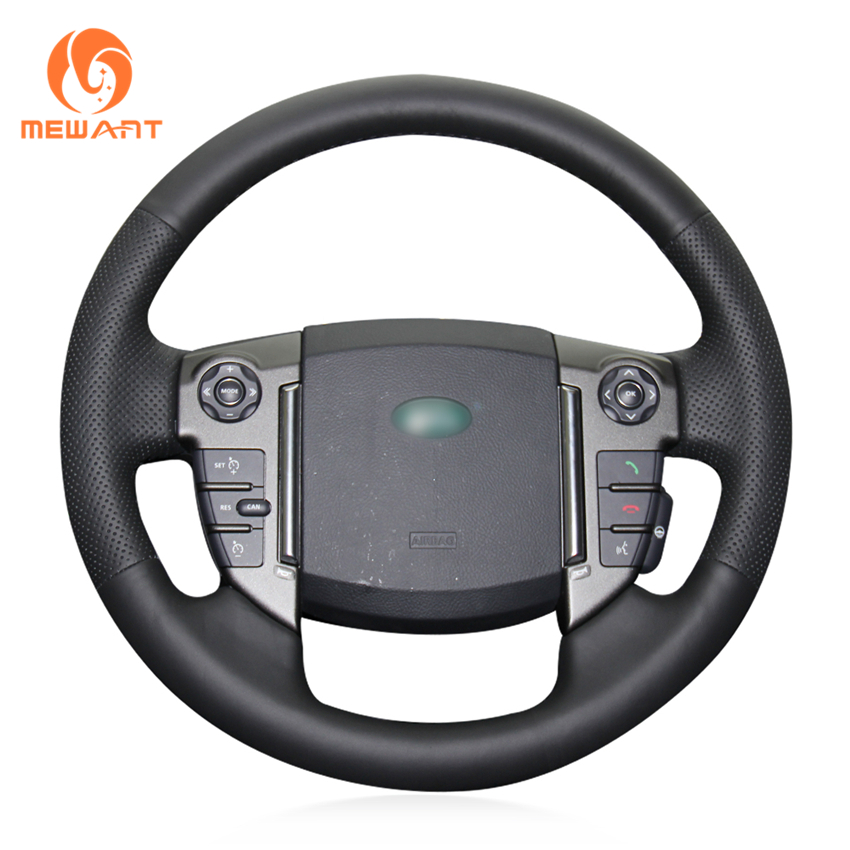 MEWANT Black Genuine Leather Car Steering Wheel Cover for Land Rover Discovery 4 2010-2016 huier hand sewing car steering wheel cover black leather for land rover discovery 3 2004 2009 steering wheel auto accessorie