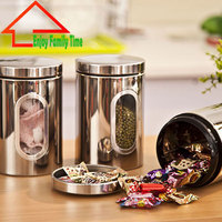 Free Shipping Stainless Steel Kitchen Storage Containers Very Good Quality Vacuum Tea Caddy Translucent Food Jar Three A Set