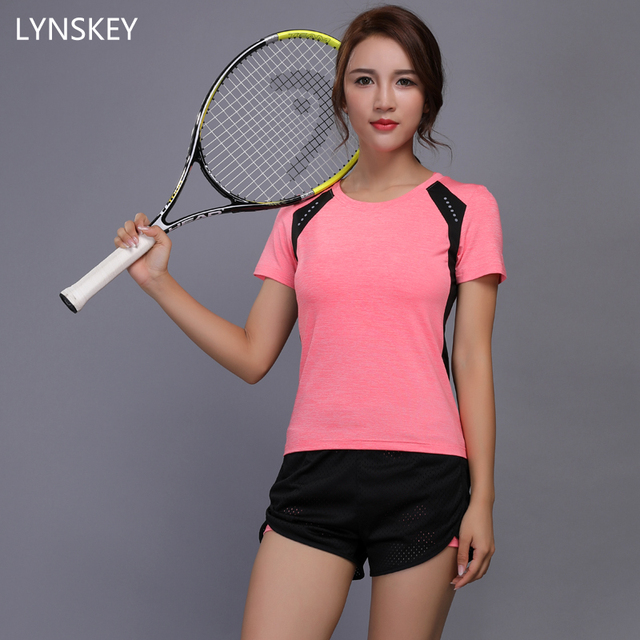 LYNSKEY Women Tennis Clothes Yoga Set Badminton Clothing Fitness Running Shirt+Shorts Quick Dry ...