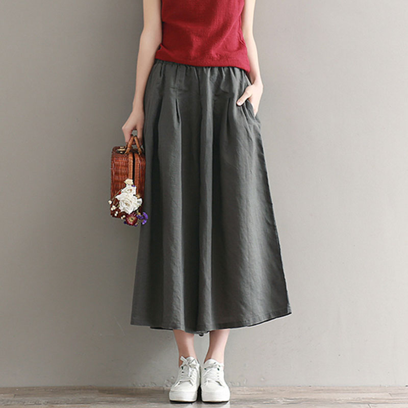 Women harajuku   Wide     Leg     Pants   Casual Loose Solid Female Bottoms Cotton Linen Elastic Waist Pleated Vintage Women's summer   Pants