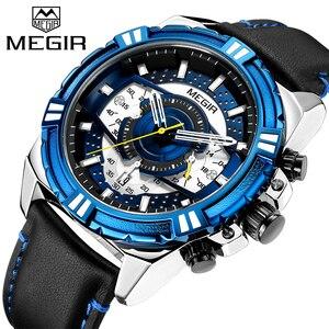 Image 2 - Megir marca de luxo relógio cronógrafo masculino relógios homem à prova dwaterproof água data esporte militar relógio quartzo masculino montre homme