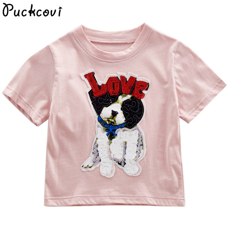 Kids t-shirt Sequin embroidery 2018 summer Youth girls T-shirts short sleeves fashionable Tees all-match cotton kids tops 4-14y