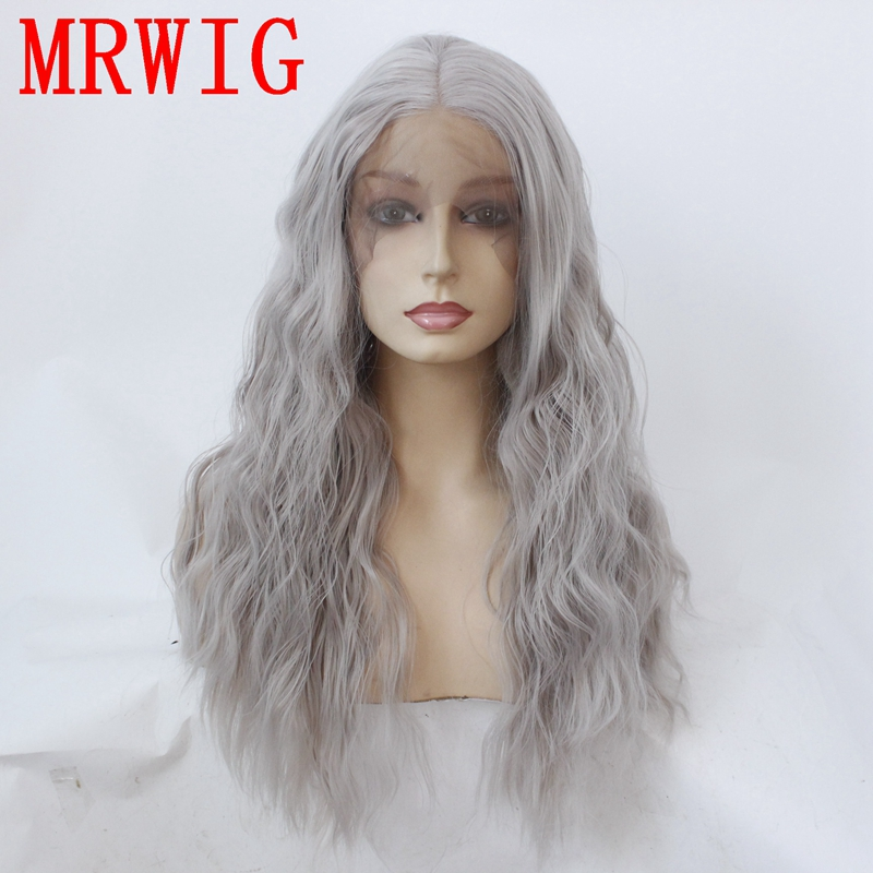 Synthetic Wigs Fast Deliver Mrwig Real Hair Medium Grey Kinky Curly Middle Part Front Lace Wig Glueless 24inch 180%density 350g Can Heat Can Do Style Hair Extensions & Wigs