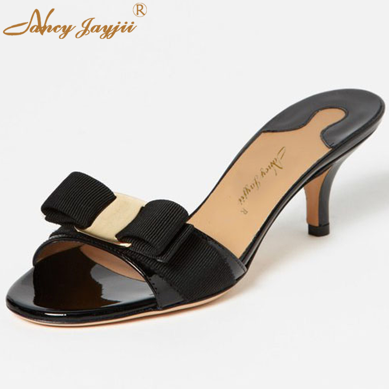 Mules Outside Summer Slippers Sexy Low Heel EVA Injection Women Patent Leather Casual Shoes zapatos de mujer de moda Nancyjayjii цены онлайн