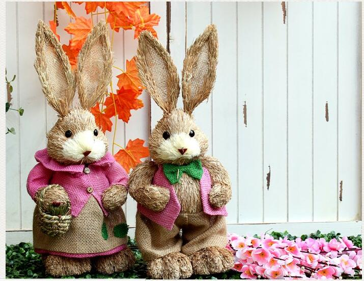 Free shippingh45cmeaster pink romantic christmas wedding free shippingh45cmeaster pink romantic christmas wedding decorative handmade natural materials straw bunny birthday gift props in figurines miniatures negle Images