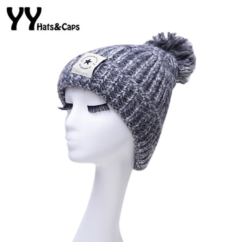 2016 knitted Hat Fashion Women Big pom pom Caps Crochet Hats For Women Winter Warm Beanies Ski Gorros Cap Skullies YY60563 winter hat casual women s knitted hats for men baggy beanie hat crochet slouchy oversized ski caps warm skullies toucas gorros