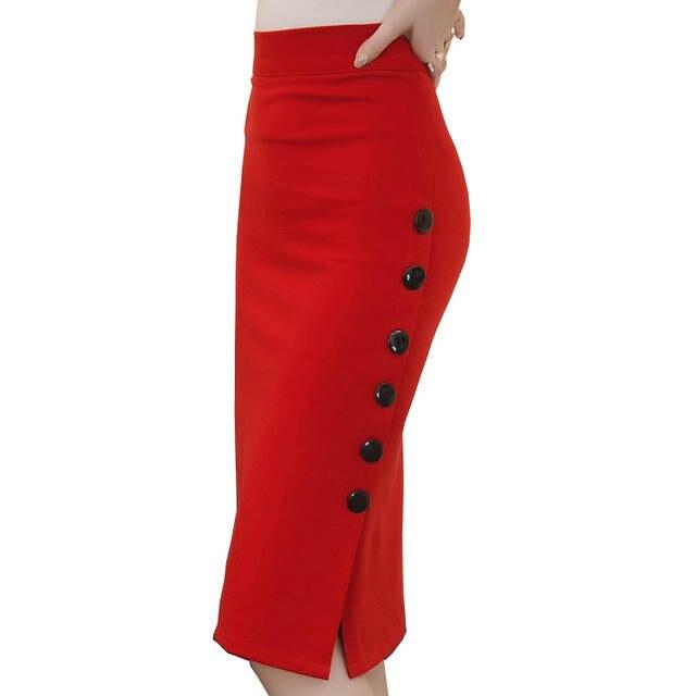 High Waist Pencil Skirt 5XL Plus Size Tight Bodycon Fashion Women Midi Skirt  Red Black Sexy 3665567c6c09
