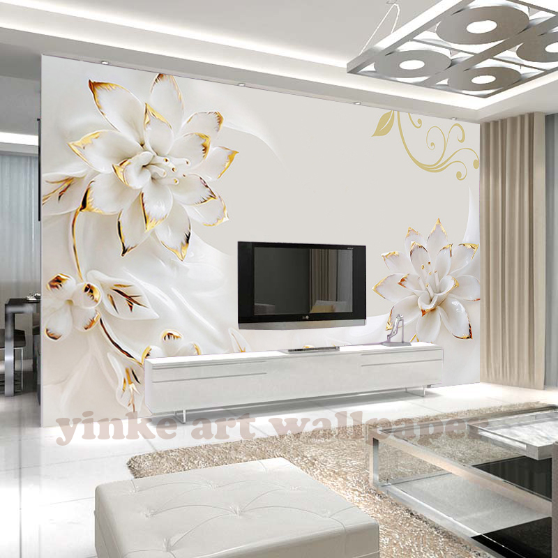 Custom 3D Photo Wallpaper Bedroom For Walls White  Flower Background Decorative Wall Murals Wallpaper Living Room
