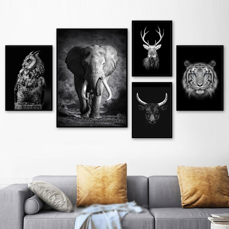 Wall Art Canvas Painting Nordic Black White Elephant Owl Cow Deer Tiger Posters And Prints Animals Pictures For Living Room