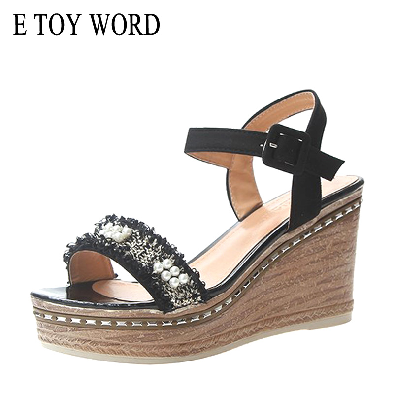 Sandals Summer Ladies Shoes High-Heel Comfortable Wedge E-Toy Ankle-Buckle WORD Strap-Fish-Mouth