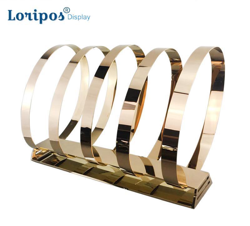 Support de ceinture en acier inoxydable présentoir de ceinture en métal 5 anneau de ceinture support de stockage support de Table ceinture présentoir organisateur étagère affichage