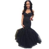 ZYLLGF Bridal Mermaid Sweetheart Black Beaded Evening Dresses Long Tulle Rhinestone Evening Gown High Quality SA245