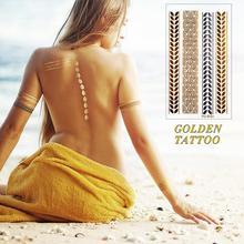 HC5024-Taty Design Flash Tattoo Removable Waterproof Gold Tattoo Metallic Temporary Tattoo Stickers Temporary Body Art Tatoo