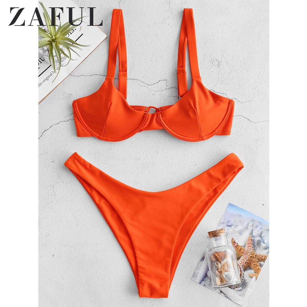 ZAFUL Bikini Tie Underwire Balconette Bikini Set Straps Solid Women Summer Swim Suit Sexy Women Spaghetti Strap Bathing Suit
