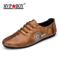MVP BOY 2018 New Comfortable Casual Shoes Loafers Men Shoes Quality Split Leather Shoes Men Flats