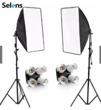 Diffuser Light 50*70cm Continuous Lighting Softbox for 4-in-1 Socket E27 Lamp Holder with 2Pcs 2M light Stand Photo Studio Kit 50 70cm continuous lighting softbox 4 lamp holder cross bar double pulley horizontal arm photography kit 45w 5500k bulbs 4pcs
