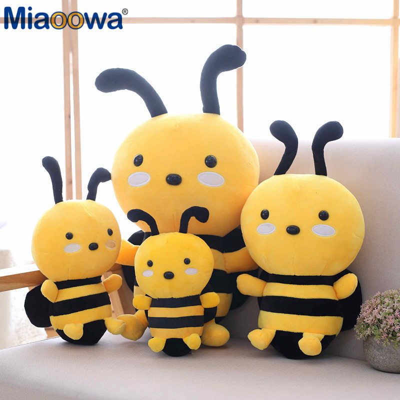 Miaoowa 20-30cm Kawaii Honeybee Plush Toy Cute Bee With Wings Stuffed Baby Dolls Lovely Toys For Children Appease Birthday Gift
