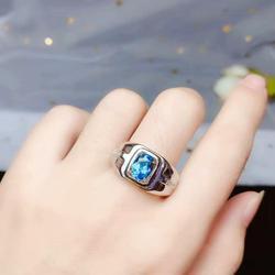 Yanıp sönen okyanus mavi topaz taş yüzük gümüş