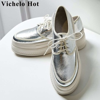 Vichelo Hot flat platform increased shoes luxury sheep leather high bottom lace up sneakers round toe daily vulcanized shoes L19