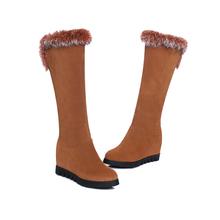 Winter Boots Warm casual 2016 Women's Knee High hight  increase  Boots Square Fashion Round Toe Women Shoes  Size 34-43 T-6027