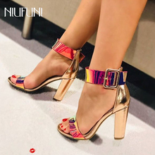 Women's Single Band Classic Chunky Block High Heels Pumps Sandals with Ankle Strap Dress Shoes Sexy Gold Open Toe Cover Heel