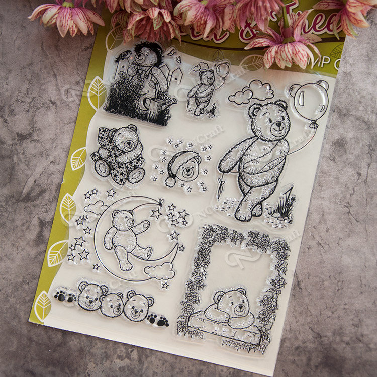 Bear Animal Pet Scrapbook DIY photo cards account rubber stamp clear stamp finished transparent chapter school Kid manual gift flower scrapbook diy photo cards rubber stamp clear stamp seal hand finished chapter transparent account for wedding gift t 0214