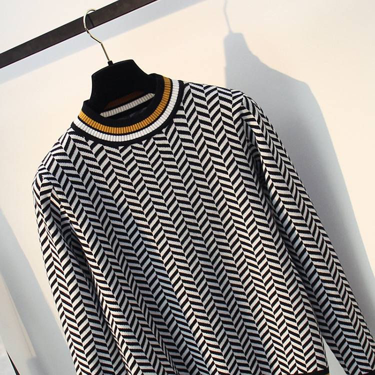 New High Quality Striped Autumn Winter Women Sweater