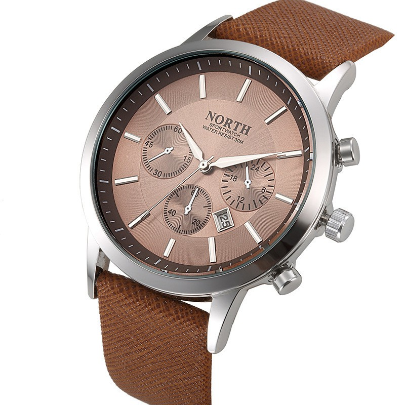 North Quartz Watch Brown Dial Sport Leather Strap