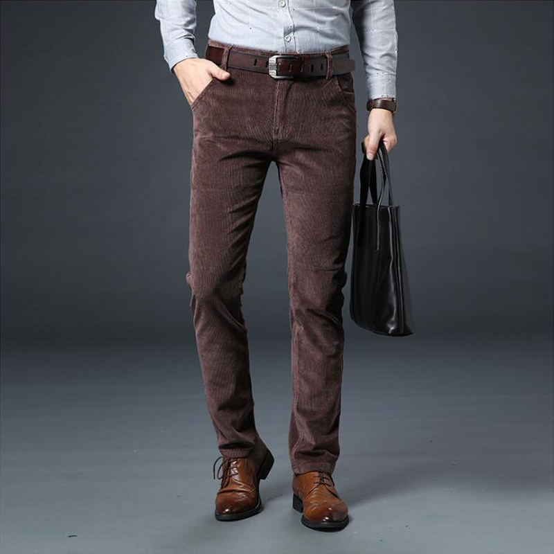 Autumn Winter Mens Casual Classic Thick Bussiness Corduroy Cotton Pants Trousers