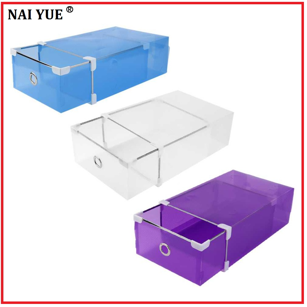 NAI YUE Half Transparent Plastic Drawer Shoe Box Case 2 Sizes for Both Men Women DIY Shoe Box Shoes Organizer 3 Colors