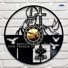 Pape françois conception vinyle record horloge murale art maison bureau église conception saat, 3 couleurs(China)