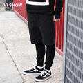VIISHOW Long Pants Men Hip Hop Design Fake Two Pieces Fashion Cargo Pants Homme Men Clothes KC43663