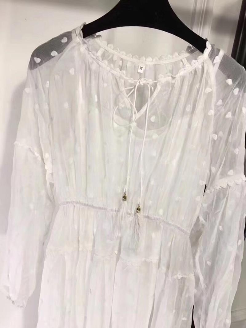 2019 Grandes Blanc White Imprimées De Printemps Longues Élégantes Avec Robe Manches Col Long Robes Luxe cou Femmes Tailles Marque À O w4FqpI1